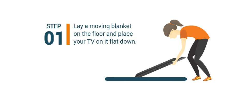Step #1 Lay a moving blanket on the floor and place your TV on it flat down.