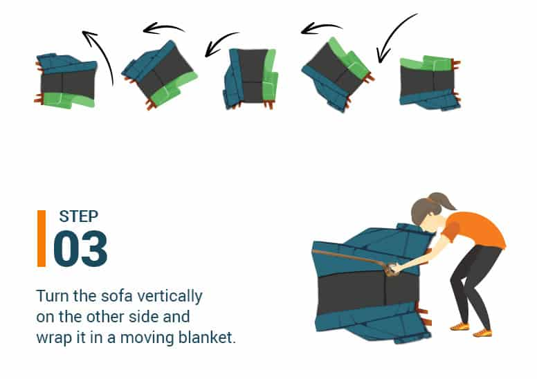 Step #3 Turn the sofa vertically on the other side and wrap it in a moving blanket.